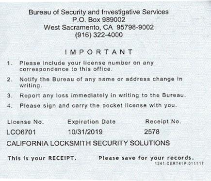 California Locksmith Security Solutions licensed, insured locksmith